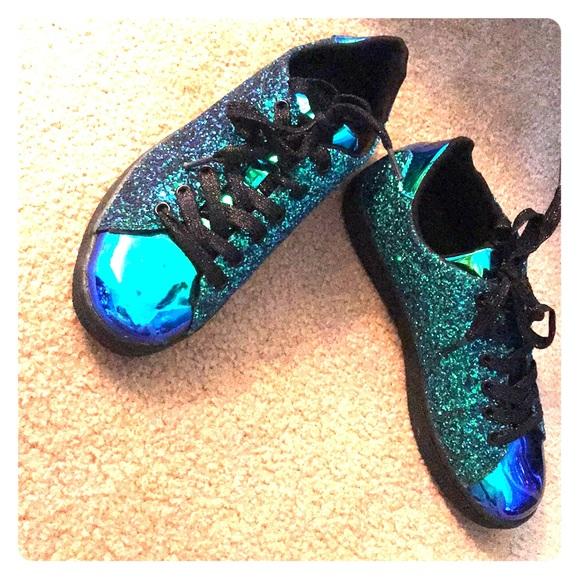 4007de294c6e Forever 21 Shoes | Sparkle Glitter Sneaker Blue Green Ombr Metallic ...